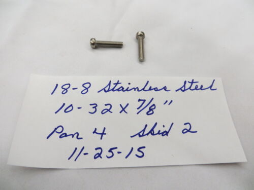 """10-32 x 7//8"""" Fillister Head Slotted 18-8 Stainless Steel Machine Screws 100 Pcs."""