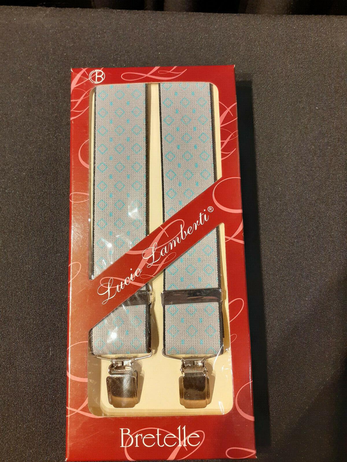 Mens Elastic Suspenders Grey Fantasy Diamonds Blue Wide Adjustable 4 clip