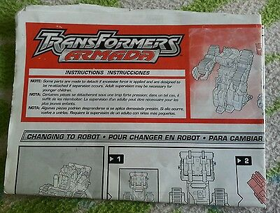 Transformers ARMADA CYCLONUS INSTRUCTION BOOKLET ONLY AUTHENTIC
