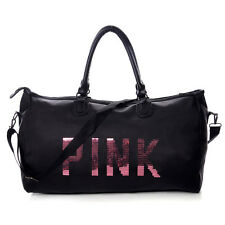 "Victoria's Secret ""PINK"" Rhinestone Sequin Overnight Bag - Black MOM17"