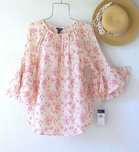 New-Peach-amp-Pink-Floral-Peasant-Blouse-Ruffle-Sleeve-Cotton-Boho-Top-Size-XL