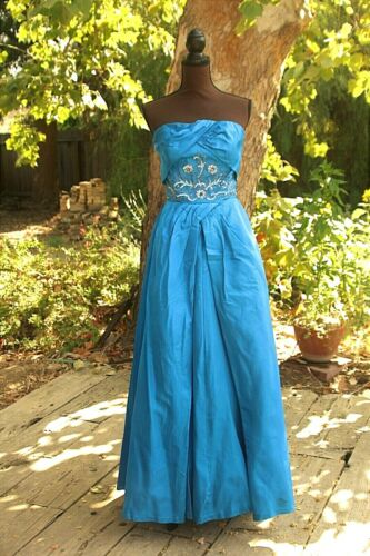 Stunning 1950s electric blue ball gown, sequins an