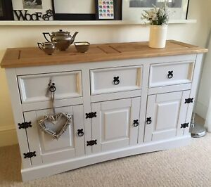 Shabby Chic Sideboard In Farrow Ball Cornforth White Solid Pine