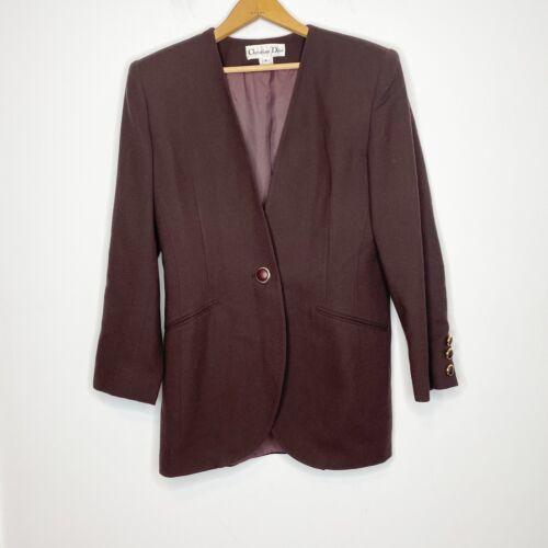 Christian Dior Size 8 Wool Oversized Blazer Brown… - image 1