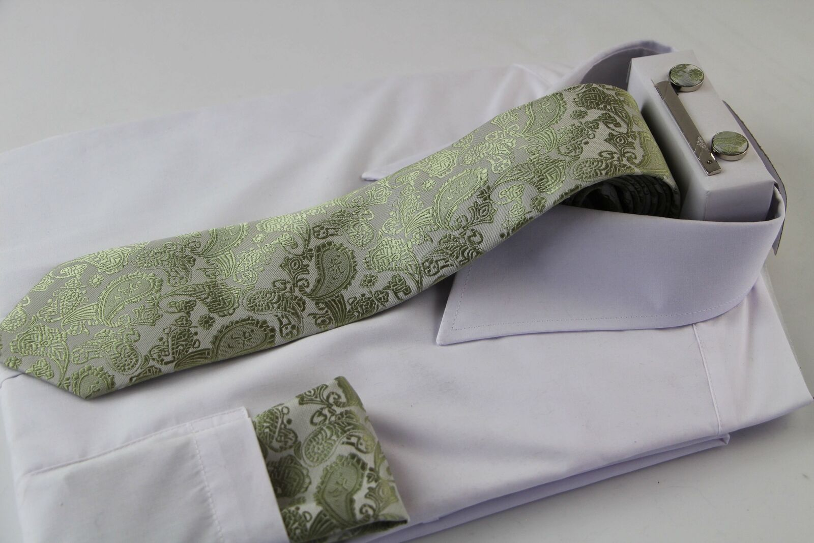 Mens Olive & Silver Boho Paisley Matching Neck Tie, Pocket Square, Cuff Links