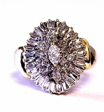 10k yellow gold .75ct SI2 H diamond marquise cluster ring womens 4.6g estate