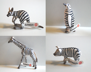Schleich-82802-82805-Tiere-im-Zebra-Muster-75-Jahre-Jubilaeum-Sonderedition-NEU