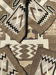 EARLY-ANTIQUE-NAVAJO-BLANKET-RUG-TWO-GREY-HILLS-STORM-PATTERN-c-1900-61-x39
