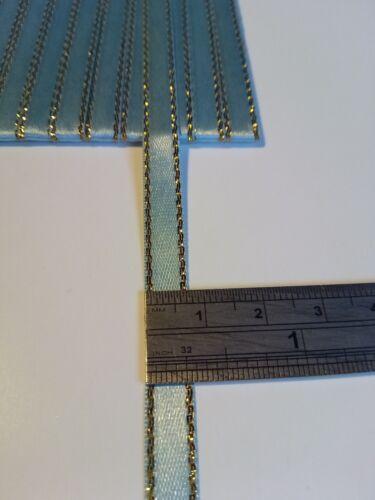 5M 6mm Oro Azul Pálido delgada Bordes Cinta de Raso Adorno de tarjetas colección de recortes