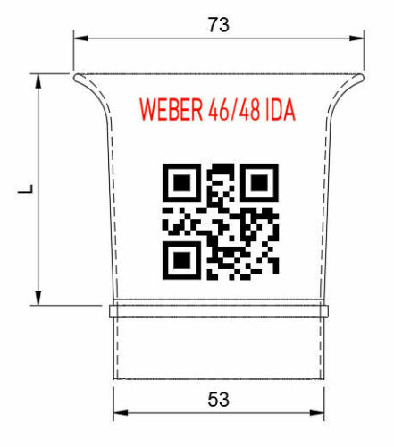"Trumpet 58mm 2.25/"" Weber 46//48 IDA slide in Velocity Stack AL air horn ram pipe"