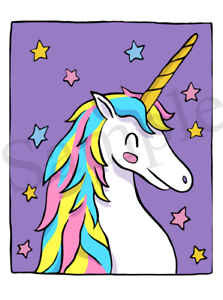 Details about Purple Colourful Unicorn Iron On Transfer FREE protective  wallet & instructions
