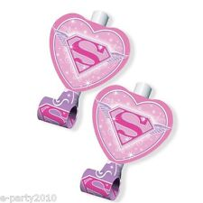 SUPER GIRL BLOWOUTS (8) ~ Birthday Party Supplies Favors DC Superhero Pink Favor