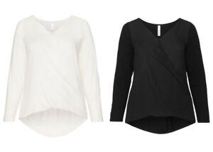 Sheego-Damen-Blusenshirt-Bluse-Shirt-Top-Tunika-Oberteil-off-White-Schwarz-NEU
