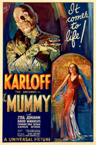 1932 THE MUMMY WITH BORIS KARLOFF VINTAGE HORROR MOVIE POSTER PRINT 54x36 9MIL
