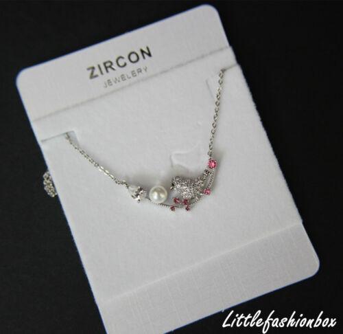 "Cubic Zirconia Crystal Cluster Bird /& Branch Delicate Necklace UK New 16/"""