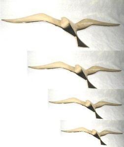 4er Set- Möwen 25 - 50 Cm- Wanddeko Mit Aufhängeringen- Aus Messing