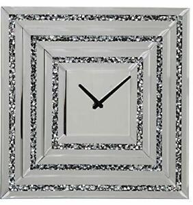 Large-Mirror-Clock-Pharmore-Glass-Silver-Crushed-Diamond-Crystal-Wall-Clock