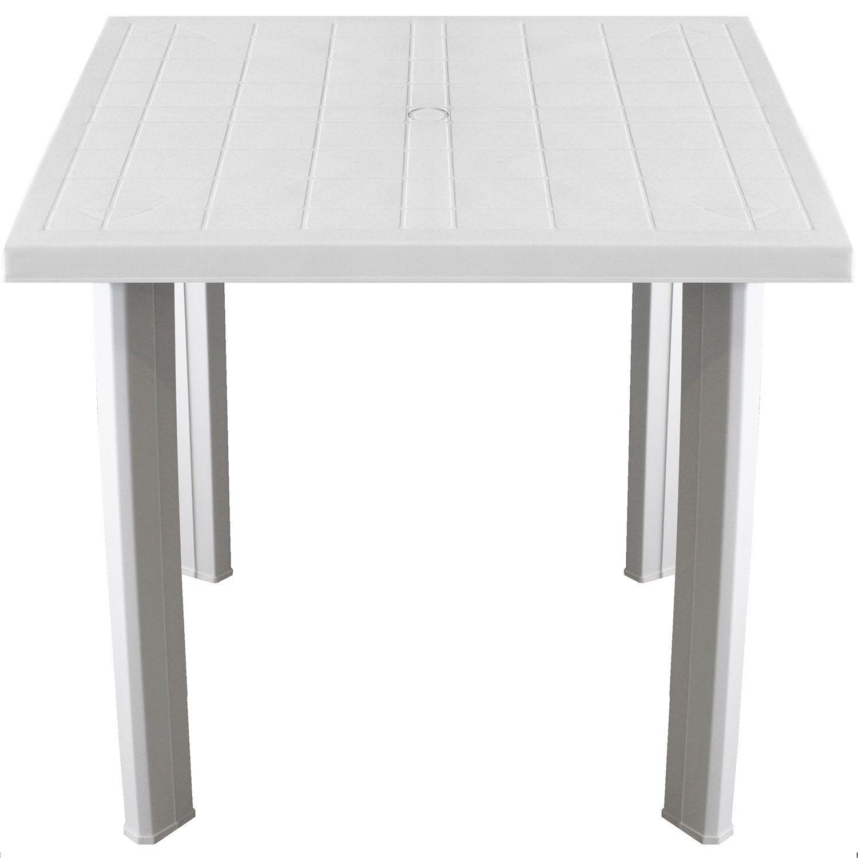 Gartentisch 80x75cm Campingtisch Balkontisch Beistelltisch Vollkunststoff white