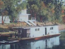 1911 POSTCARD BLUE RIVER FISHING HOUSEBOAT GAS PUMP STATION KANSAS CITY MISSOURI