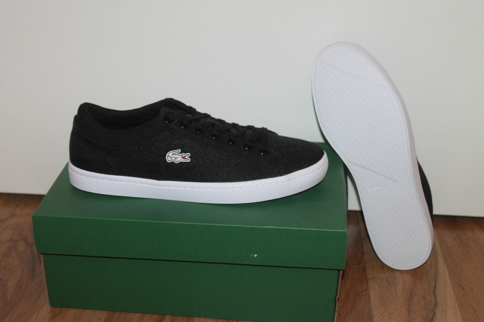 Lacoste Straightset Herren Schuh Sneaker Schwarz Weiß alle Größen Neu mit Karton