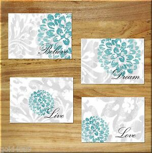 Gray Teal Wall Art Picture Print Bedroom Bathroom Decor Floral Rustic Distressed Ebay