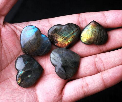 Top 2Pcs Natural Labradorite Love Heart Crystal Rough Polished From Madagascar