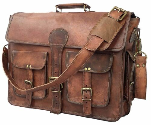 Mens New Brown Distressed Leather Satchel Briefcase Messenger Laptop Bag