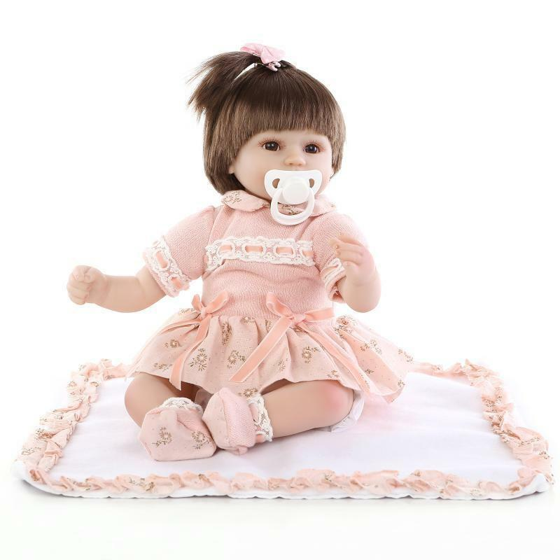 18  Suave Silicona Vinly guapo Muñecas Reborn Bebé niñas ojos abiertos Niño Regalos 45cm