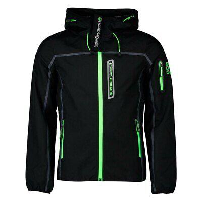 veste homme RRP £ 85 BNWT manteau Superdry Windcheater en Noir Avec Acide trim