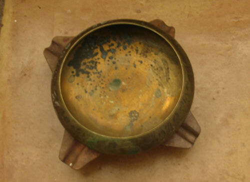 12 VINTAGE COPPER BRASS HEAVY ASHTRAY, ORNATE ENGRAVING! Hammered Copper Base