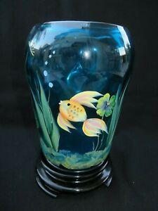 Fenton-Glass-Hand-Painted-Gold-Koi-Betta-Fish-Flip-Vase-in-Blue-w-Stand-7-1-2-034