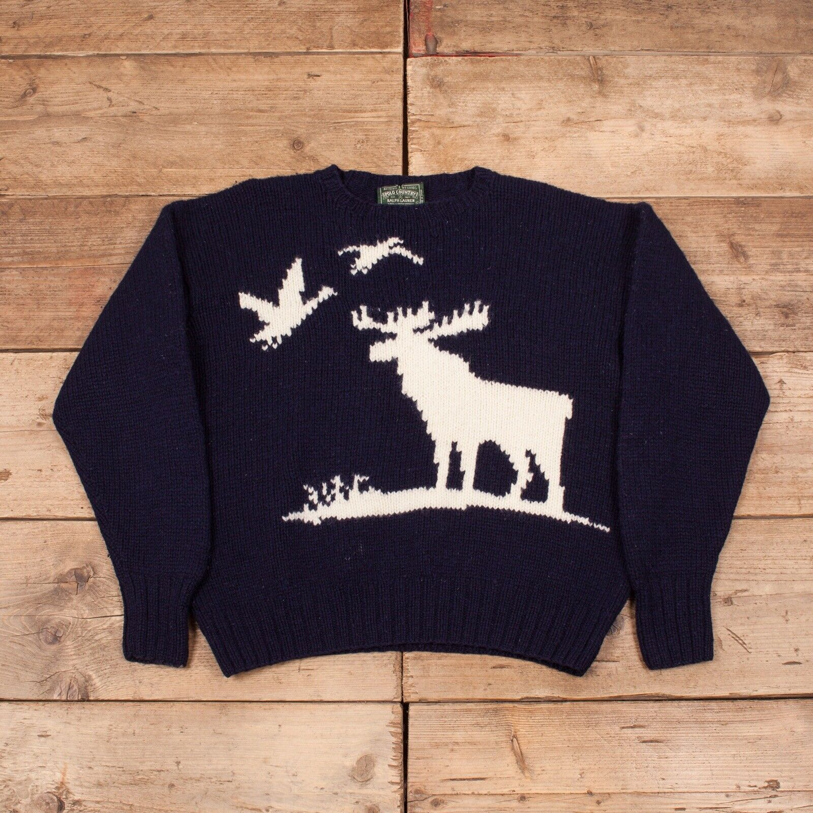 "herren Vintage Polo Country Ralph Lauren 90s Hand Knit Jumper groß 44"" R12058"