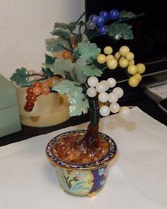 CLOISONNE-ENAMEL-ROSE-QUARTZ-JADE-FLORAL-FRUIT-STONE-BLOSSOM-TREE