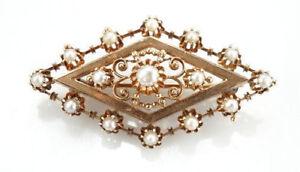 Wertvolle-Antike-Brosche-585er-Gold-mit-Naturperlen-14-Kt-Rotgold-6-10-Gramm