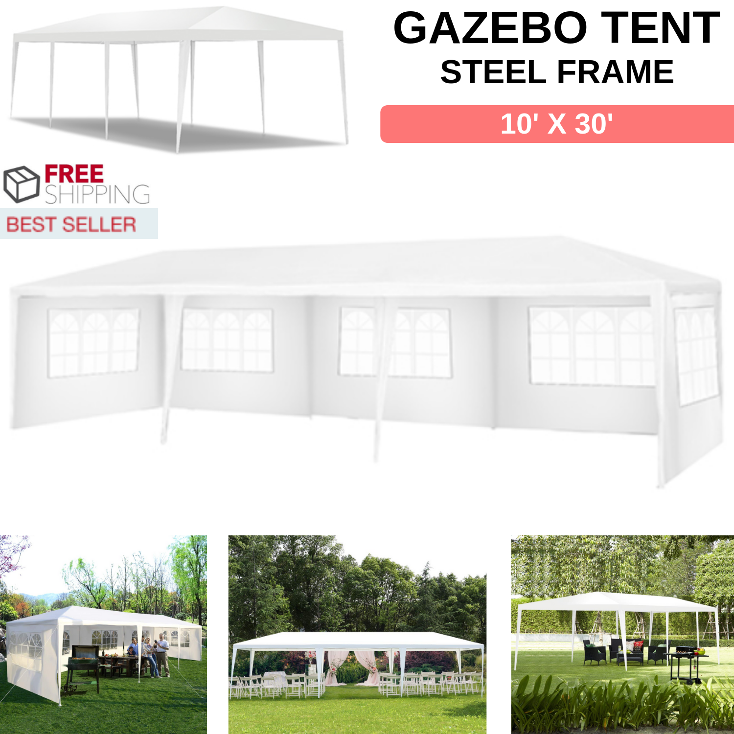 Outdoor Gazebo Canopy Tent Size 10' x 30' Steel Frame With 5 Removable Sidewalls