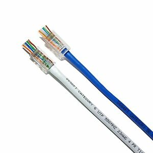 100 PC Rj45 8p8c Cat6 Modular Plug Ethernet Gold Plated Network ...