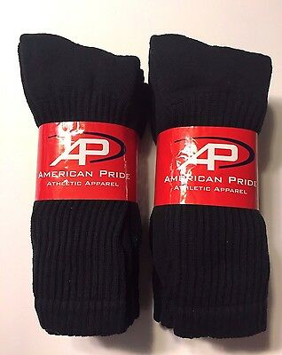 3// 6//12 Pair HYTEST Mens Solid Black Full Cushion Work Sport Crew Sock SZ10-13