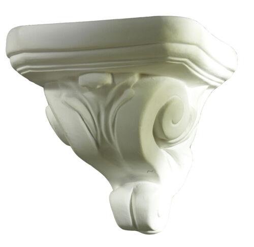 Klassisch weiß 11 cm Wandkonsole aus Alabaster-Gips Stuck Barock-Stil
