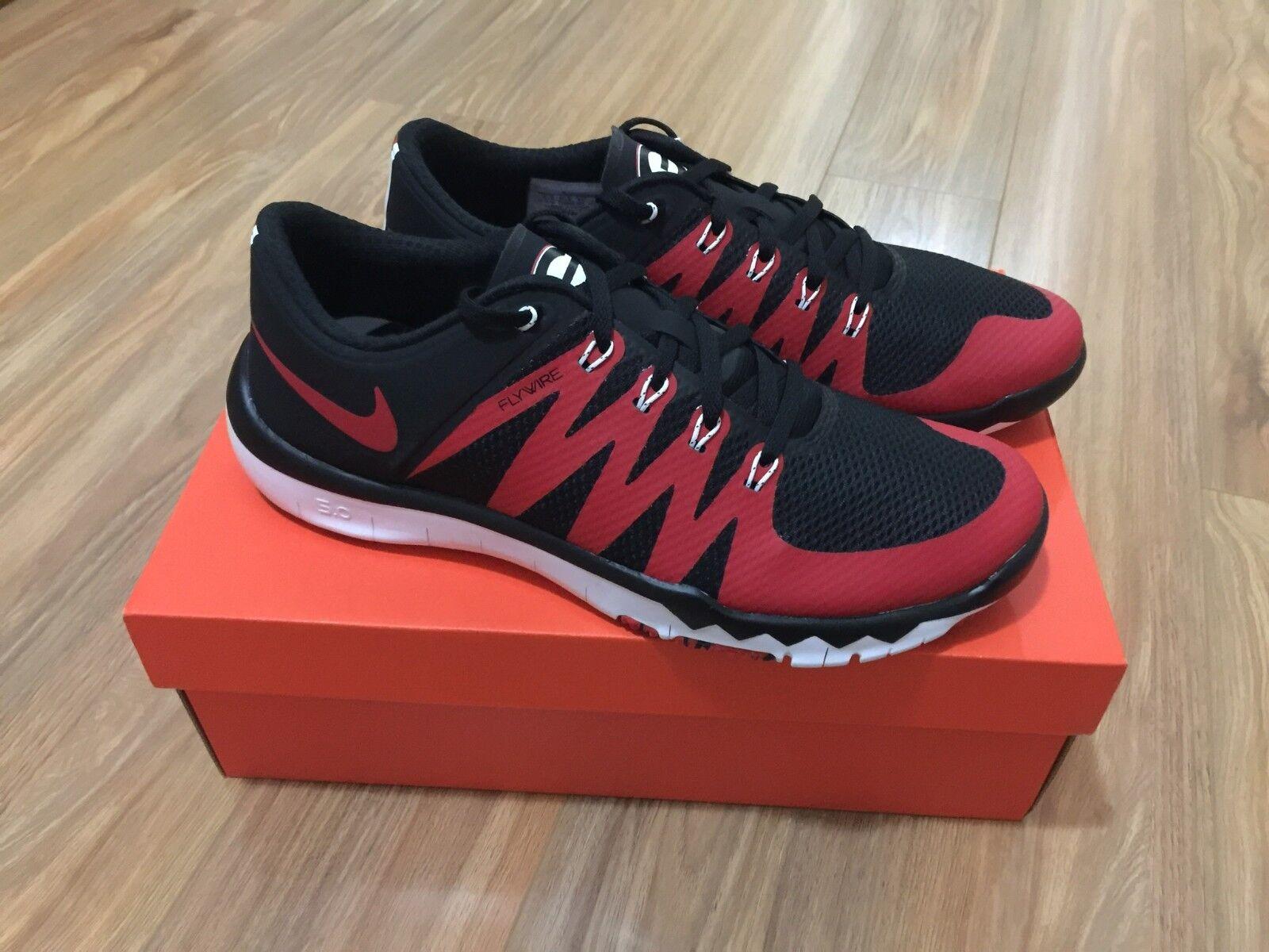 Nike Uomo Free Trainer 5.0 V6 AMP Georgia Bulldogs 723939-005 Red Nero UGA NEW