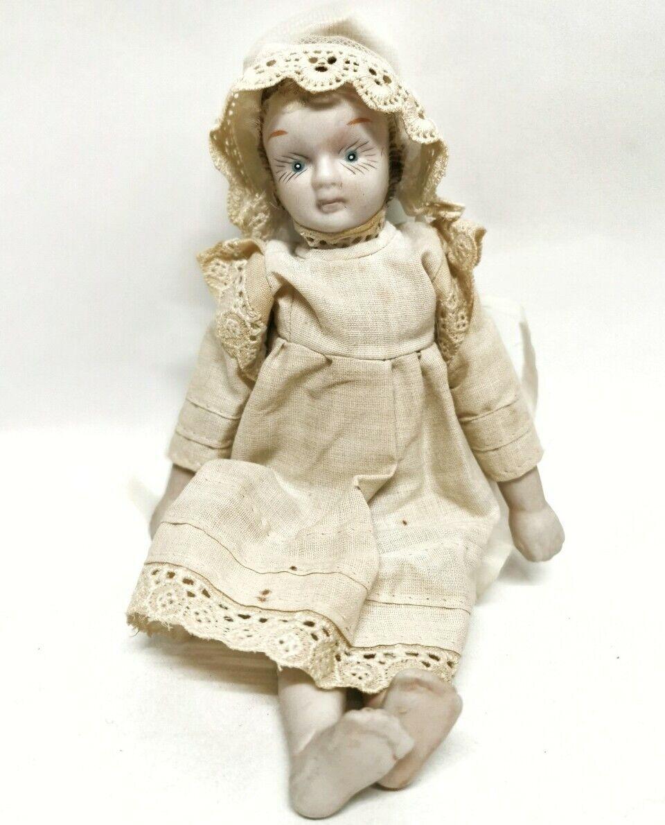 Vintage Bisque Porcelain Doll Large Eyelashes Asian C1960s Retro Victorian lace