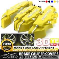 4x 3d Style Yellow Abs Car Universal Disc Brake Caliper Cover Frontamprear Kit Ms Fits Jaguar