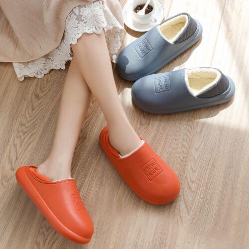 UK Waterproof Slippers Plush Lining Warm Indoor Outdoor Anti-slip Shoes Unisex