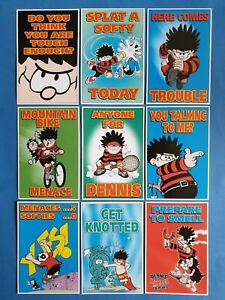 Set-of-9-Official-Beano-Dennis-the-Menace-Postcards-Gnasher-series-1