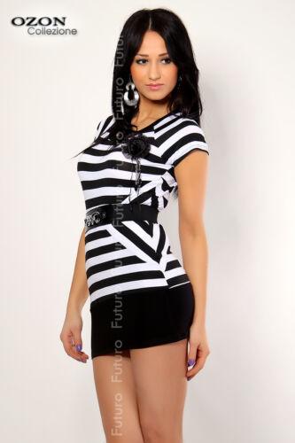 Women/'s Basic Striped Mini Dress Bodycon Short Sleeve Tunic Top Sizes 8-12 FC127