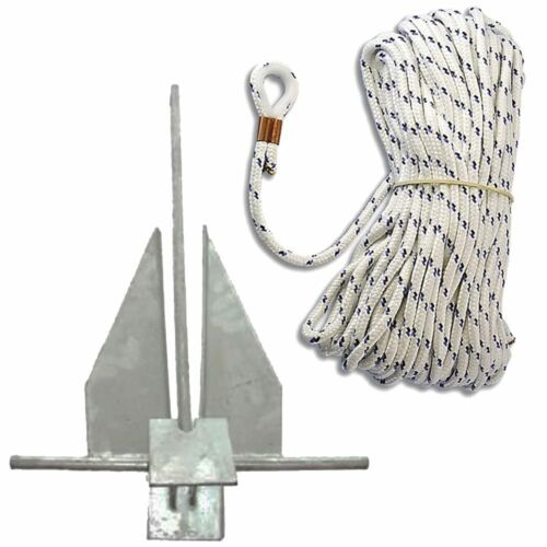 Danforth Plattenanker 8mm 30m Ankerleine mit Kausch Kausche Boot Seil Anker