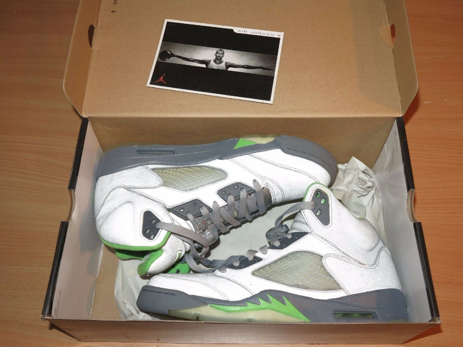 Nike Air Jordan 5 V Retro Silver Green Bean 2006 Size 10 44 New Mint Rare