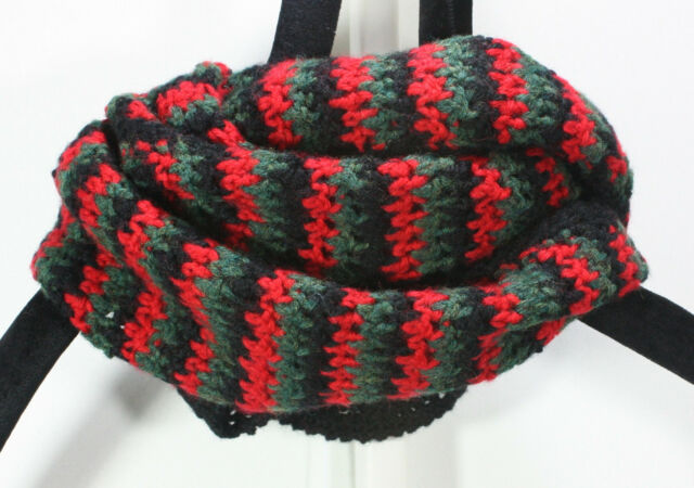 MEO CROCHET SCARF 78 X 7 BLACK RED GREEN HOUNDSTOOTH WOOL BLEND AFRO RASTA KNIT