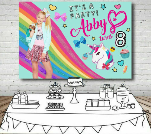 Jojo Siwa Rainbow Backdrop Girls Birthday Party Background Vinyl Photo Decor