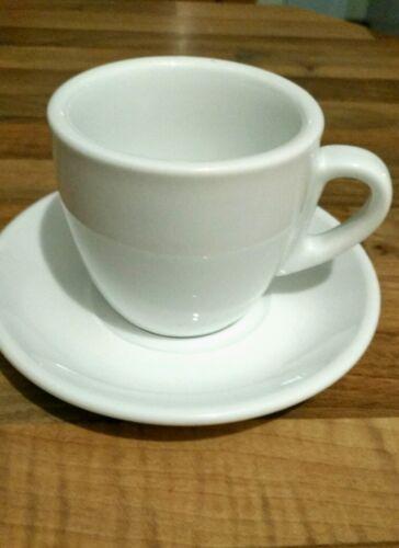 12 Kaffeetassen Cappuccinotassen mit Untertassen Porzellan weiß  Gastronomie