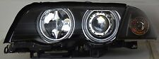 BMW E46 98-01 Saloon Touring Ccfl Angel Eye Halo Projector Headlights Rhd Black